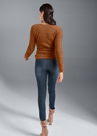 Back View Cozy Cross Front Sweater