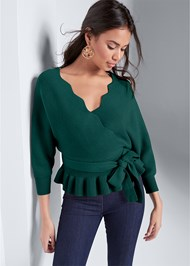 Front View Peplum Tie Front Sweater