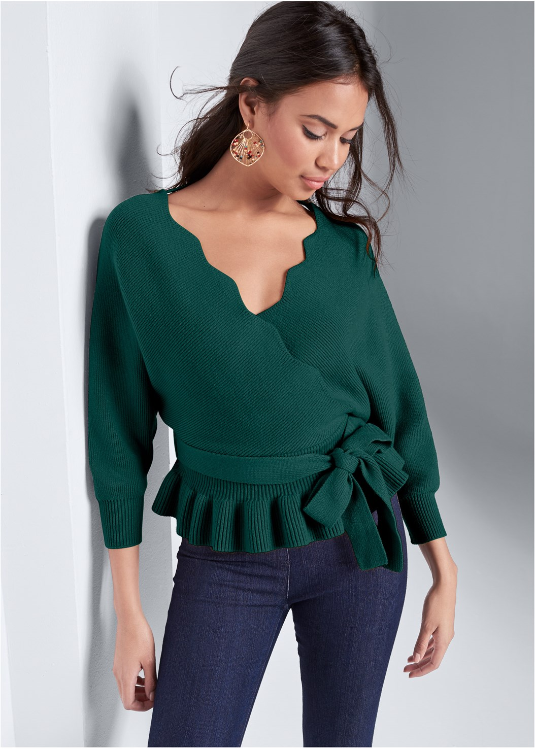 Peplum Tie Front Sweater,Mid Rise Slimming Stretch Jeggings,Peep Toe Booties,Beaded Leaf Shape Earrings