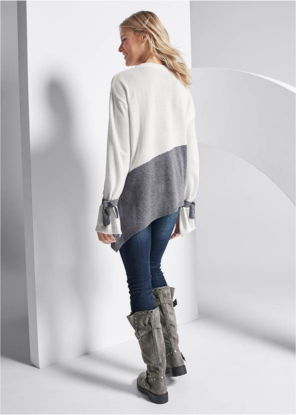 Full back view Color Block Sweater