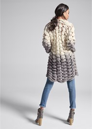 Full back view Chunky Open Knit Duster