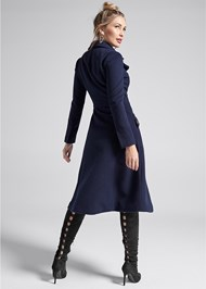 Full back view Long Asymmetrical Zipper Coat