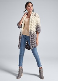 Full front view Chunky Open Knit Duster