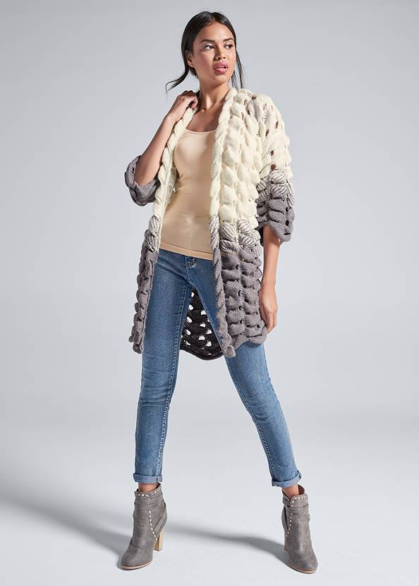 Chunky Open Knit Duster,Seamless Cami,Mid Rise Color Skinny Jeans,Embellished Western Boots,Steve Madden B Corina
