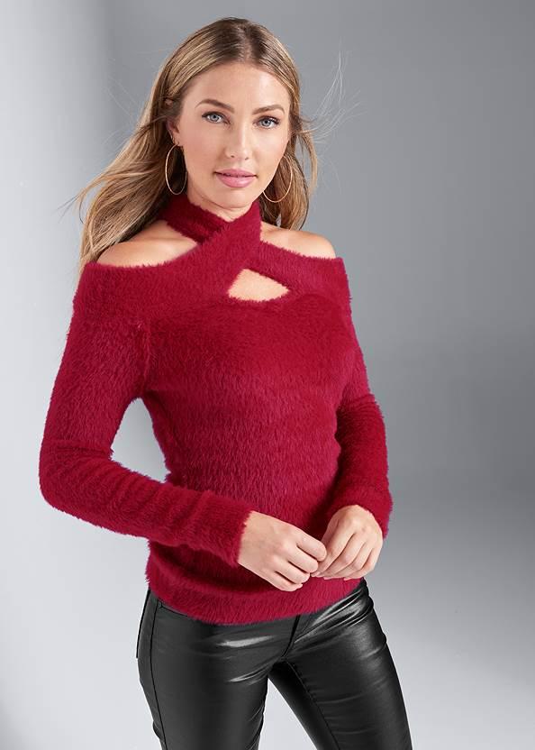 Cozy Cross Neck Sweater,Faux Leather Pants