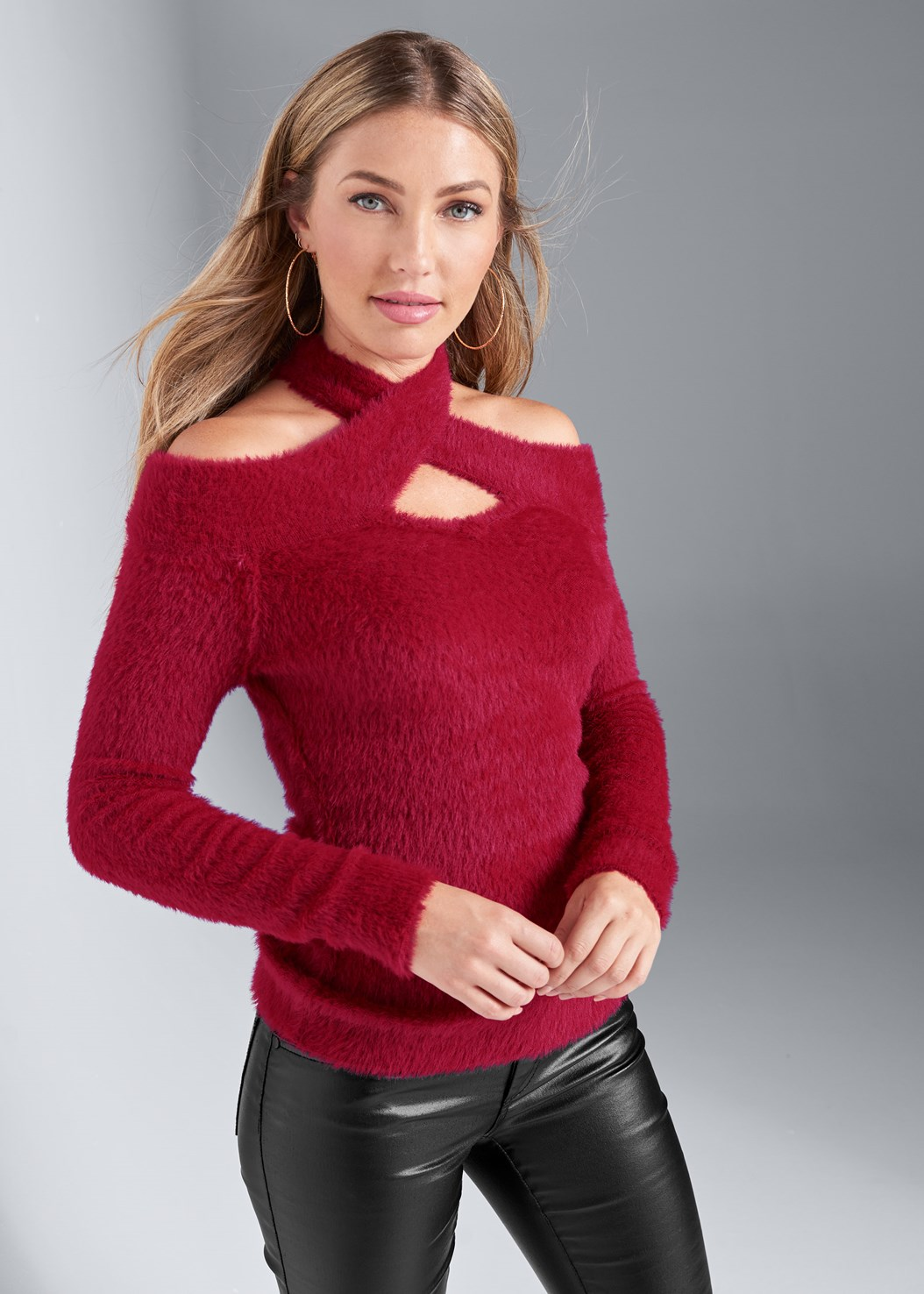 Cozy Cross Neck Sweater,Faux Leather Pants