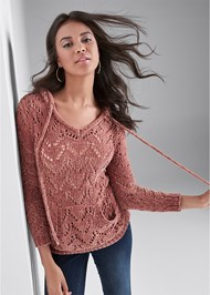 Front View Chenille Hooded Sweater