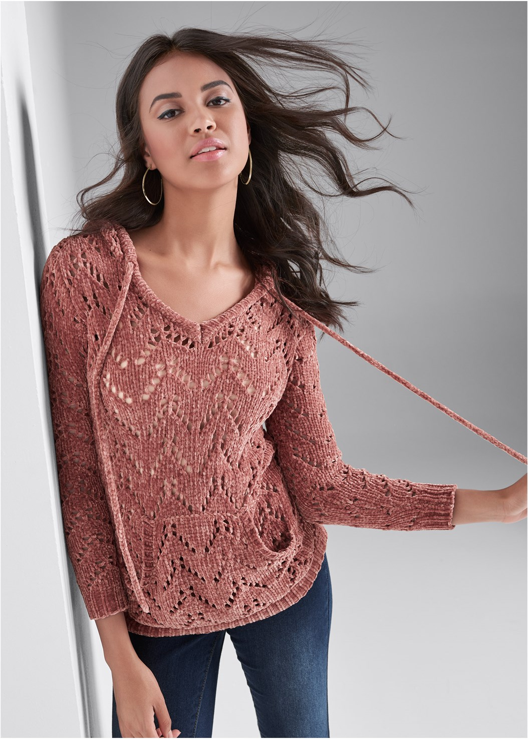 Chenille Hooded Sweater,Mid Rise Color Skinny Jeans,Seamless Lace Comfort Bra,Mixed Earring Set,Tall Belt Detail Boot