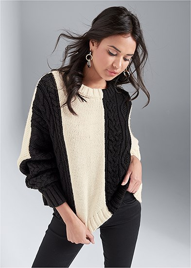 Cable Color Block Sweater