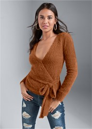 Front View Cozy Cross Front Sweater