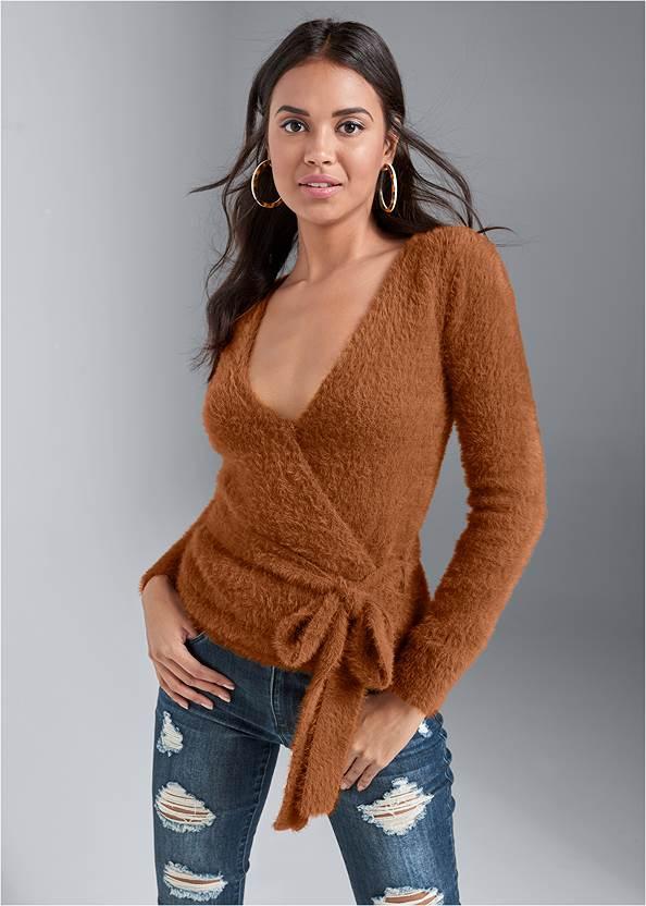 Cozy Cross Front Sweater,Ripped Skinny Jeans,Cupid U Plunge Bra,Peep Toe Booties,Peep Toe Print Heels