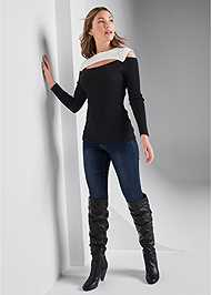 Full Front View Cut Out Ribbed Sweater