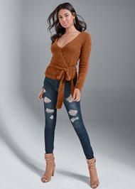 Full Front View Cozy Cross Front Sweater