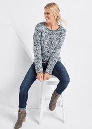 Full Front View Marled Yarn Sweater