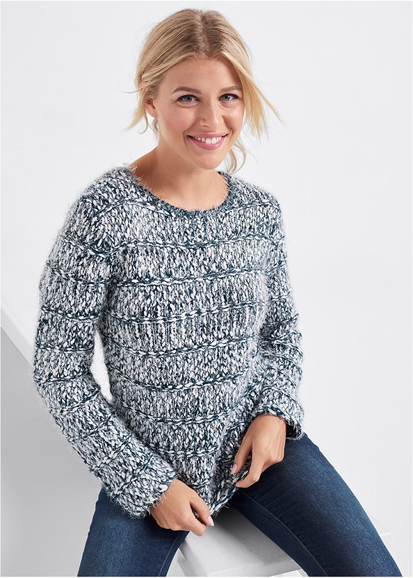 Marled Yarn Sweater,Mid Rise Color Skinny Jeans,Seamless Unlined Bra