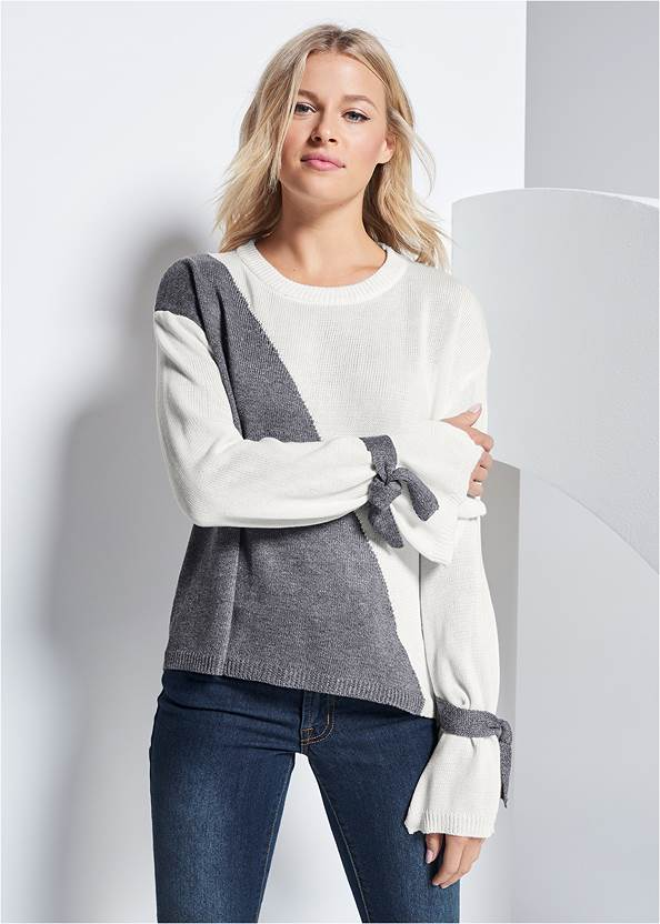 Color Block Sweater,Mid Rise Color Skinny Jeans