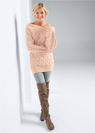Full front view Boat Neck Cable Knit Sweater