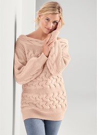 Cropped front view Boat Neck Cable Knit Sweater