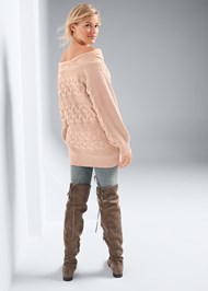 Full back view Boat Neck Cable Knit Sweater