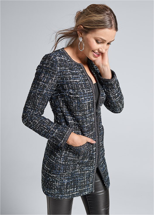 LONG TWEED JACKET,SEAMLESS CAMI,FAUX LEATHER PANTS,TIGER DETAIL EARRINGS