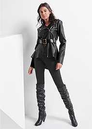 Alternate View Faux Leather Peplum Moto Jacket