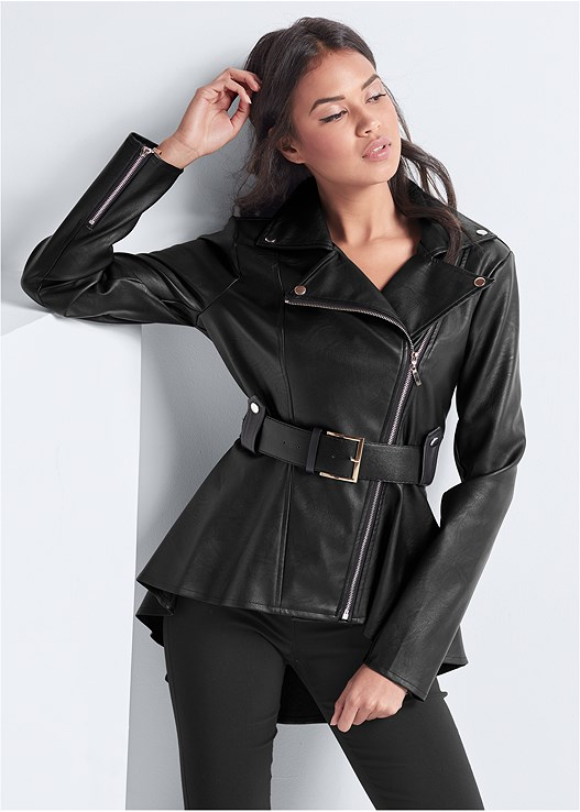 FAUX LEATHER PEPLUM MOTO,SLIMMING STRETCH JEGGINGS