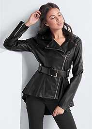 Front View Faux Leather Peplum Moto Jacket