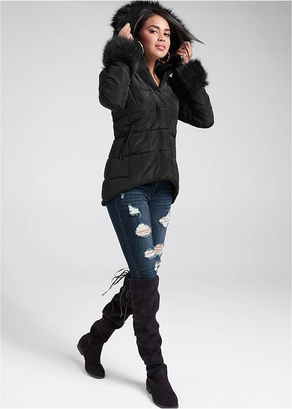 Full front view Faux Fur Trim Puffer Jacket
