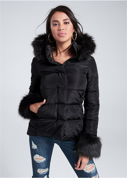 FAUX FUR TRIM PUFFER JACKET,DISTRESSED BUM LIFTER,OVER THE KNEE STRETCH BOOTS
