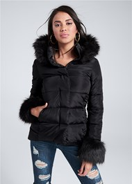 Cropped front view Faux Fur Trim Puffer Jacket