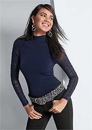 Cropped front view Mesh Mock Neck Top
