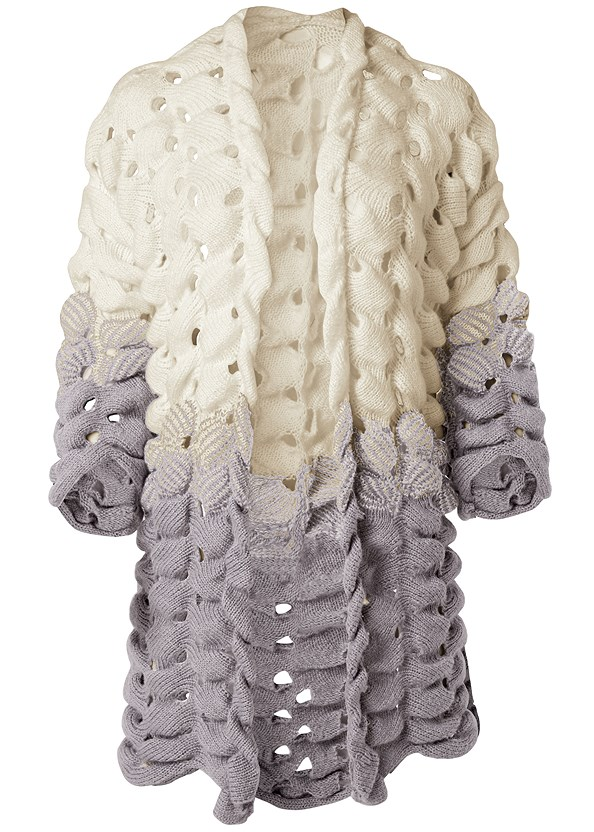 Chunky Open Knit Duster,Mid Rise Color Skinny Jeans