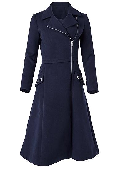 Plus Size Long Asymmetrical Zipper Coat
