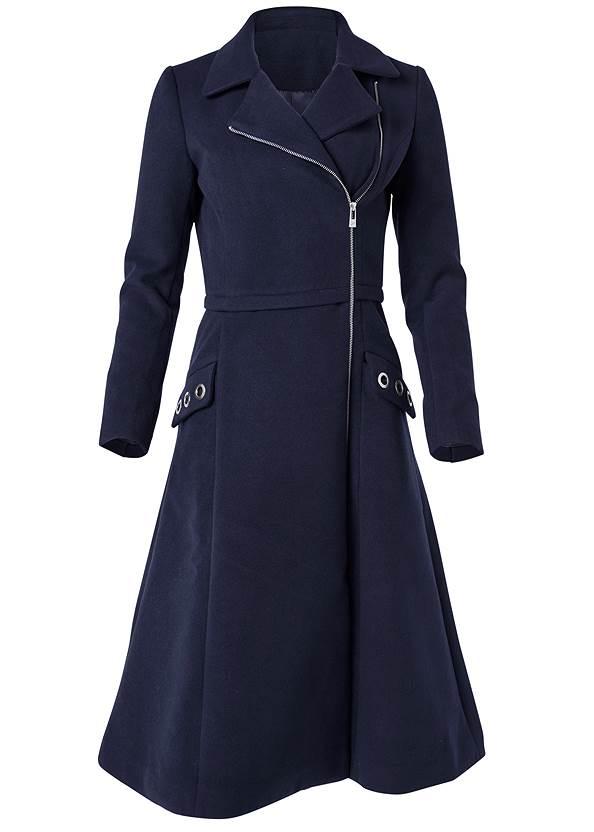 Alternate View Long Asymmetrical Zipper Coat