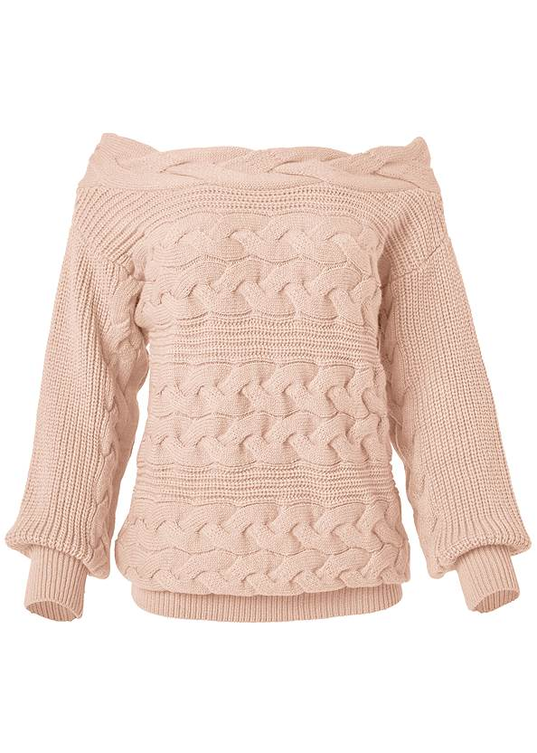 Alternate View Boat Neck Cable Knit Sweater