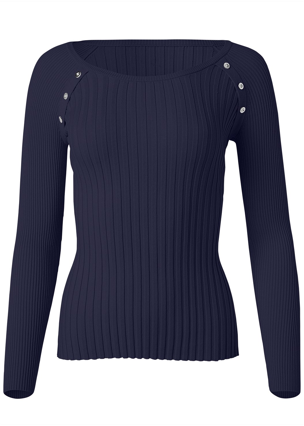 Ribbed Button Detail Sweater,Casual Bootcut Jeans