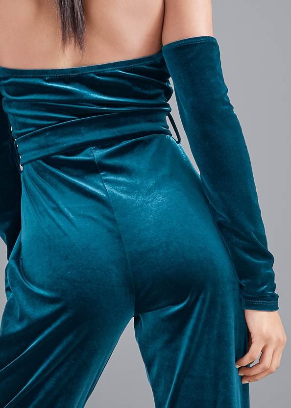 Detail back view Velvet Strapless Jumpsuit