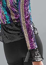 Alternate View Striped Sequin Peplum Top
