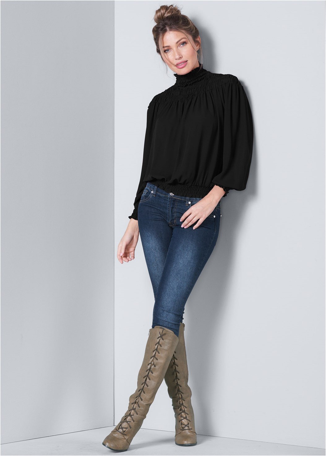 Smocked Detail Top,Mid Rise Color Skinny Jeans,Mid Rise Full Length Slimming Stretch Jeggings,Lace Up Tall Boots,Western Style Booties