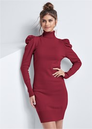 Detail front view Turtleneck Sweater Dress