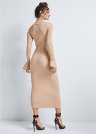 Back View Ribbed Sweater Dress
