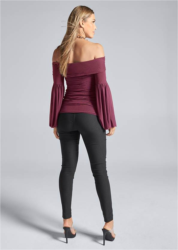 Back View Off The Shoulder Mesh Top