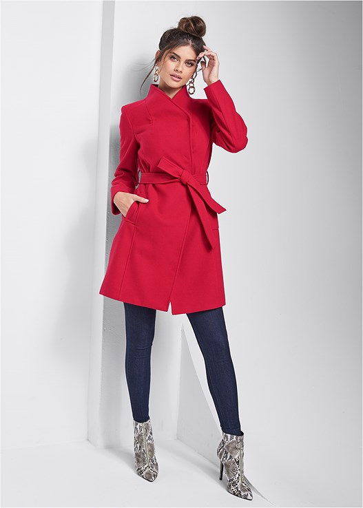 WRAP FRONT COAT,SLIMMING STRETCH JEGGINGS,CIRCLE DETAIL BOOTIES