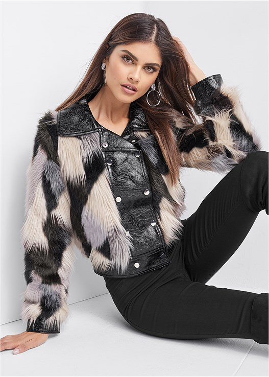 FAUX FUR JACKET,SLIMMING STRETCH JEGGINGS,CUT OUT DETAIL BOOTS,TIGER DETAIL EARRINGS