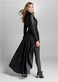 Alternate View High Low Faux Leather Trench