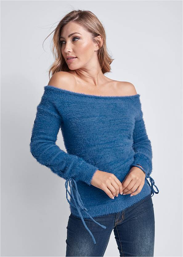 Cozy Off Shoulder Sweater,Mid Rise Color Skinny Jeans,Faux Shearling Detail Boot