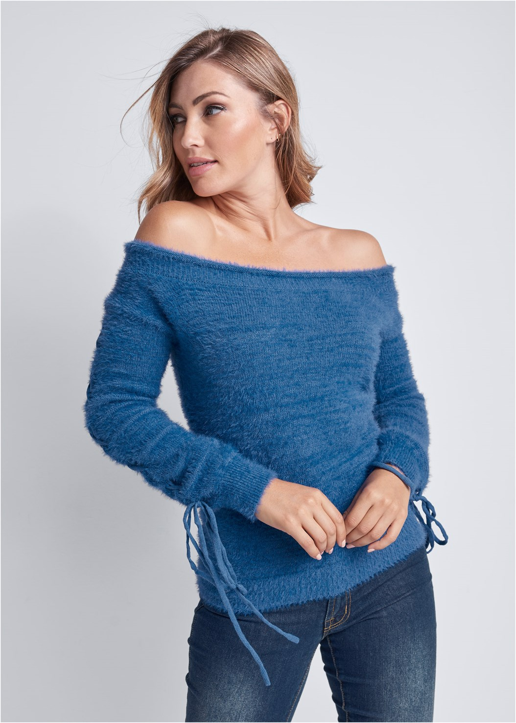 Cozy Off Shoulder Sweater,Mid Rise Color Skinny Jeans,Strapless Bra With Geo Lace,Faux Shearling Detail Boot