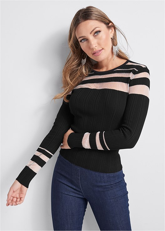 MESH DETAIL SWEATER,SLIMMING STRETCH JEGGINGS
