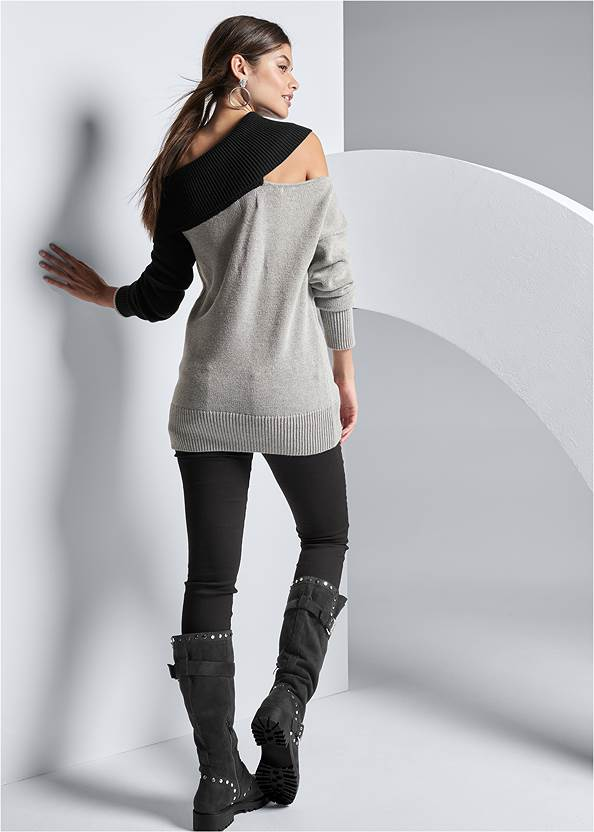 Back View One-Shoulder Sweater