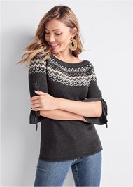 Front View Fair Isle Long Sweater